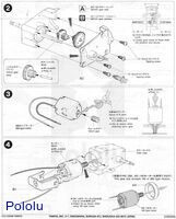 Instructions for Tamiya worm gearbox page 2.