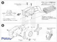 Instructions for Tamiya worm gearbox page 3.