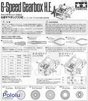Instructions for Tamiya 6-speed gearbox page 1.