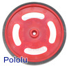 "2-5/8"" Plastic Red Wheel Futaba Servo Hub"