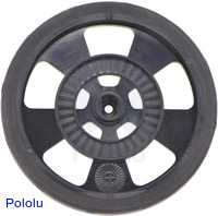 Solarbotics GMPW-B BLACK Wheel with Encoder Stripes, Silicone Tire