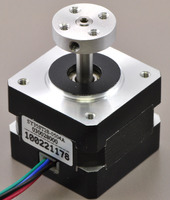 5mm Pololu universal aluminum mounting hub on a stepper motor with a 5mm-diameter output shaft.