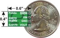 Pololu step-down voltage regulator D24VxAxx, bottom view with dimensions.