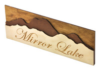 """Laser-cut and raster-engraved wedding table sign (11""""×4"""") cut from 1/8"""" birch plywood."""