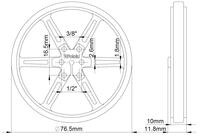 Mechanical drawing of Pololu wheel 80×10mm without tire.