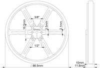 Mechanical drawing of Pololu wheel 90×10mm without tire.