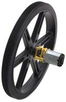 Black Pololu 90×10mm wheel on a Pololu micro metal gearmotor.