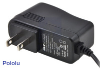 Wall power adapter: 9VDC, 1A, 5.5×2.1mm barrel jack, center-positive.