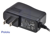 Wall power adapter: 12VDC, 1A, 5.5×2.1mm barrel jack, center-positive.