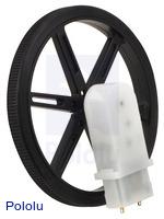 Mini plastic gearmotor 90-degree 3mm D-shaft output with Pololu 90×10mm wheel.
