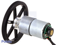 37D mm metal gearmotor with 64 CPR encoder (no end cap) and Pololu 90×10mm wheel.