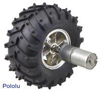 Dagu Wild Thumper wheel 120×60mm (chrome) with Pololu 25Dmm metal gearmotor.