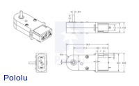 Dimensions (in mm) of the 120:1 and 180:1 mini plastic gearmotors with 90-degree 3mm D-shaft outputs.