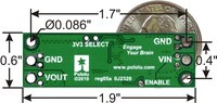 Pololu step-down voltage regulator D15V70F5S3, bottom view with dimensions