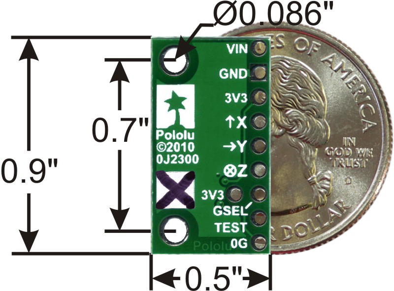 MMA7361LC 3-Axis Accelerometer ±1 5/6g with Voltage Regulator