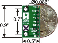 MMA7361LC 3-axis accelerometer with voltage regulator, bottom view with dimensions.