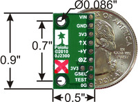 MMA7341LC 3-axis accelerometer with voltage regulator, bottom view with dimensions.