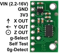 MMA7361LC/MMA7341LC 3-axis accelerometer with regulator, labeled top view.