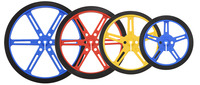 Pololu wheels with 90, 80, 70, and 60mm diameters in three colors: blue, red, and yellow.