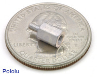 "Aluminum standoff 0.25"" 2-56 M-F with U.S. quarter for size reference."