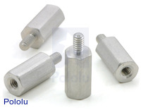 "Aluminum Standoff: 3/8"" Length, 2-56 Thread, M-F (4-Pack)"