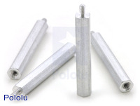 "Aluminum Standoff: 1-1/4"" Length, 2-56 Thread, M-F (4-Pack)"
