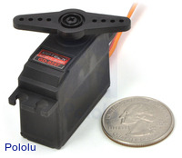 Mini high-speed digital servo GD-9257 with U.S. quarter for size reference.