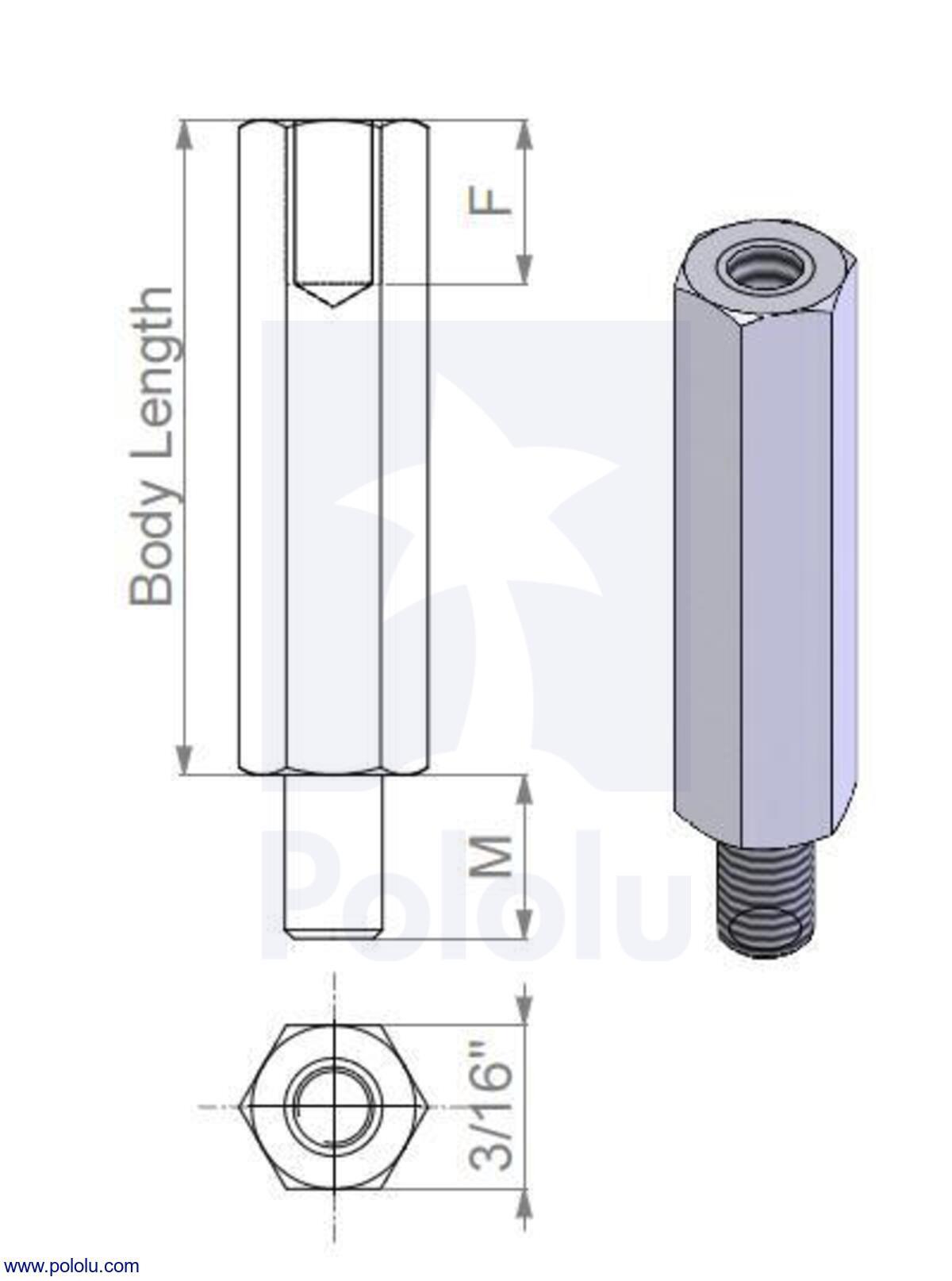 pololu aluminum standoff 1 4 length 2 56 thread m f 4 pack