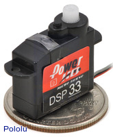 Power HD high-speed digital sub-micro servo DSP33 with U.S. quarter for size reference.