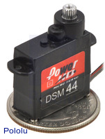 Power HD high-speed digital micro servo DSM44 with U.S. quarter for size reference.