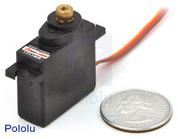 Power HD mini servo HD-1711MG with U.S. quarter for size reference.
