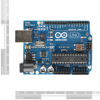 Arduino Uno DIP edition, top view.
