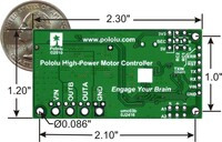 Simple High-Power Motor Controller 18v25 or 24v23 bottom view with dimensions.