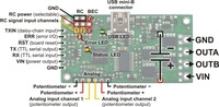 Simple High-Power Motor Controller 18v15 or 24v12 pinout and key components.