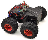 Two Pololu Simple Motor Controllers enable mixed RC-control of Dagu Wild Thumper 4WD all-terrain chassis.