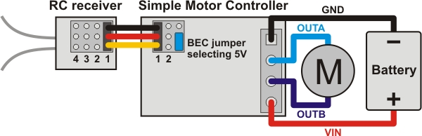 pololu 4 3 connecting an rc receiver rh pololu com RC Car Wiring Diagram RC Car Wiring Diagram
