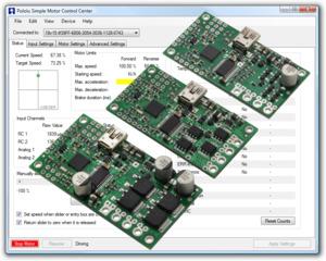 Pololu Simple Motor Controllers.