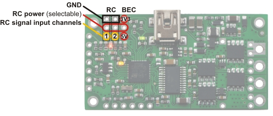 Pololu - 4 3  Connecting an RC Receiver