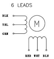 6-lead, unipolar/bipolar stepper motor wiring diagram.