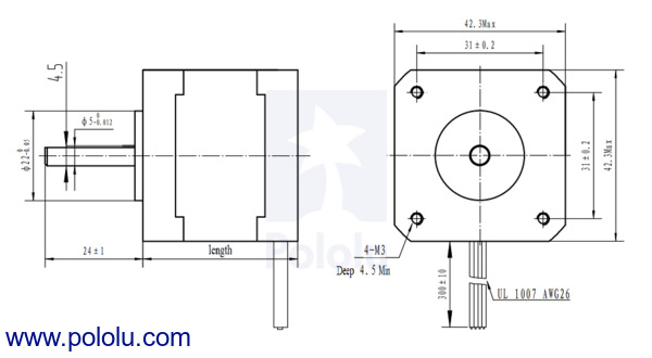 Pololu stepper motor nema 17 bipolar 200 steps rev 42 38mm for Nema 17 stepper motor datasheet