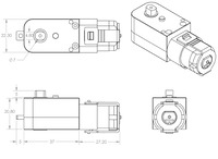 Dimensions (in mm) of the 120:1 and 200:1 plastic gearmotors with 90-degree outputs.