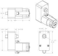 Dimensions (in mm) of the 120:1 and 228:1 plastic gearmotors with offset outputs.