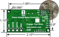Simple Motor Controller 18v7 bottom view with dimensions.
