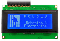 20×4 white-on-blue LCD displaying the Pololu logo with custom characters.