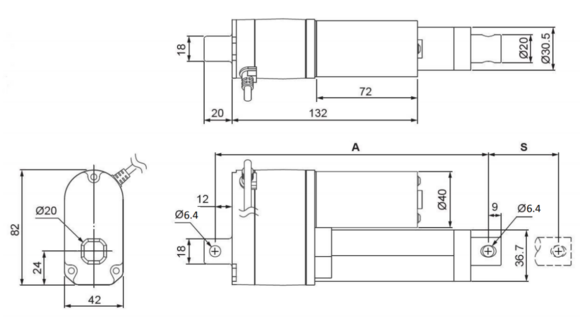 concentric lactp v linear actuator feedback  dimensional drawing for the concentric ld linear actuators feedback