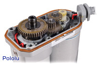 Concentric linear actuator without feedback, opened to show gears.