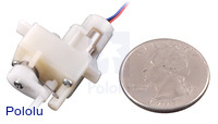 Solarbotics GM10 geared pager motor next to quarter.