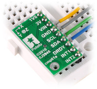 LSM303DLH/LSM303DLM 3D compass and accelerometer carrier in a breadboard.