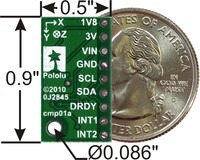 LSM303DLH/LSM303DLM 3D compass and accelerometer carrier with voltage regulators, bottom view with dimensions.