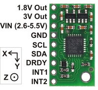 LSM303DLH/LSM303DLM 3D compass and accelerometer carrier with voltage regulators, labeled top view.